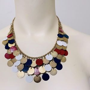 CHARMING CHARLIE Red White Blue Gold Necklace